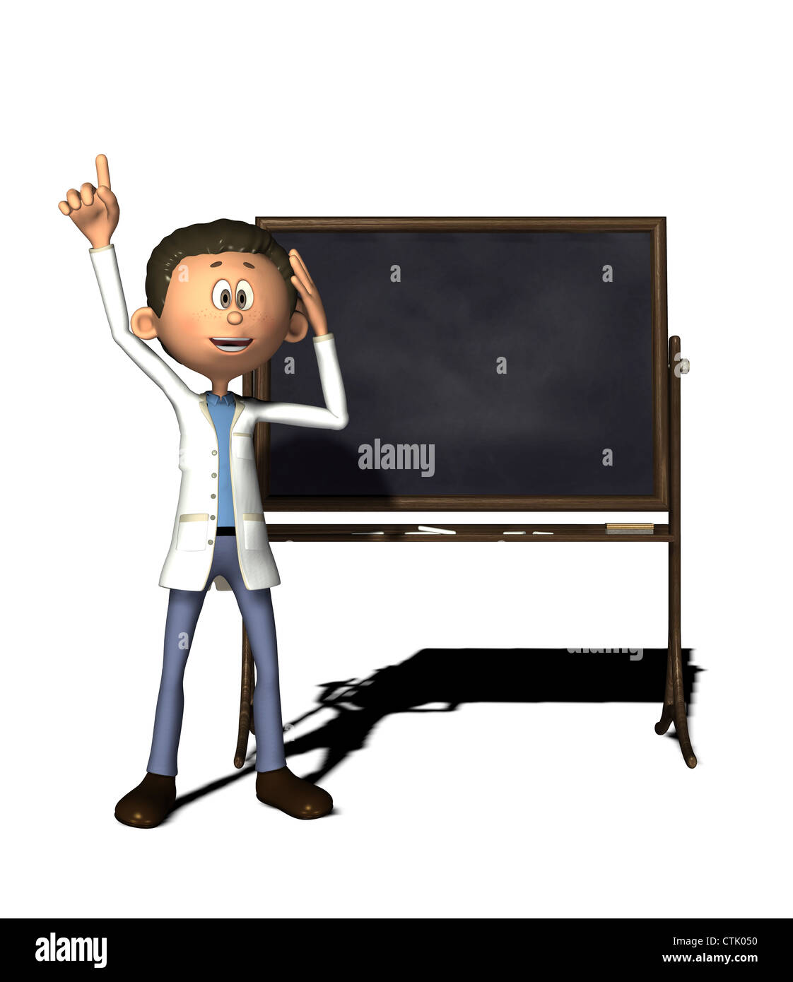 Cartoon-Figur-Chemiker mit board Stockbild