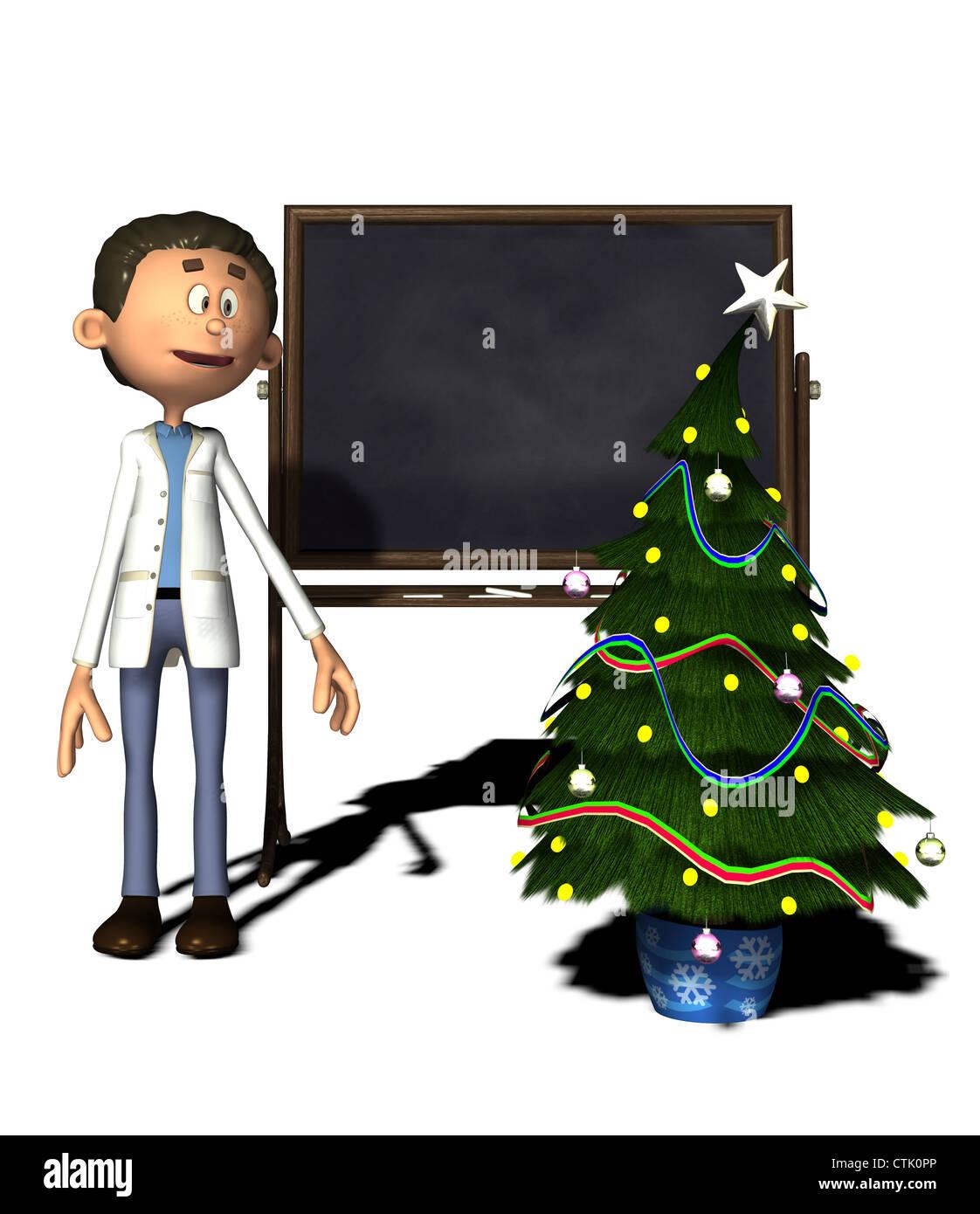 Cartoon Figur Chemiker mit Board und Weihnachtsbaum Stockfoto