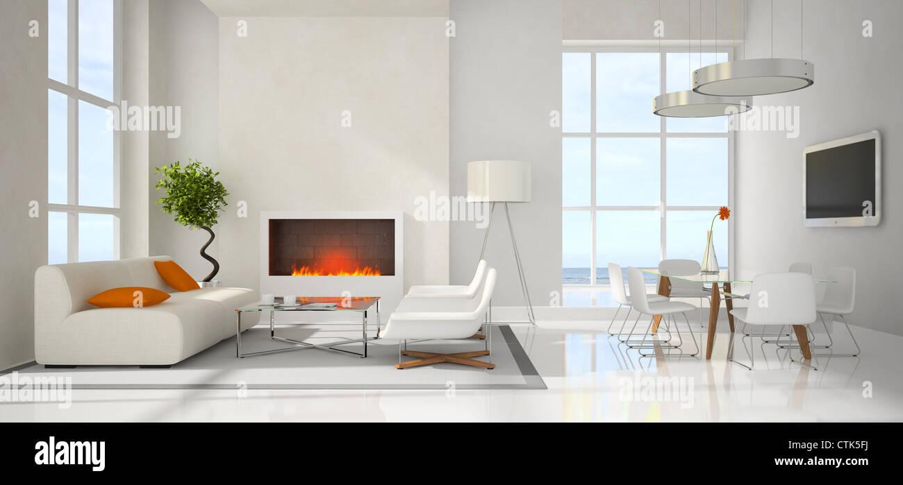 Panaramic Blick auf die moderne Innenausstattung 3D-Rendering ...