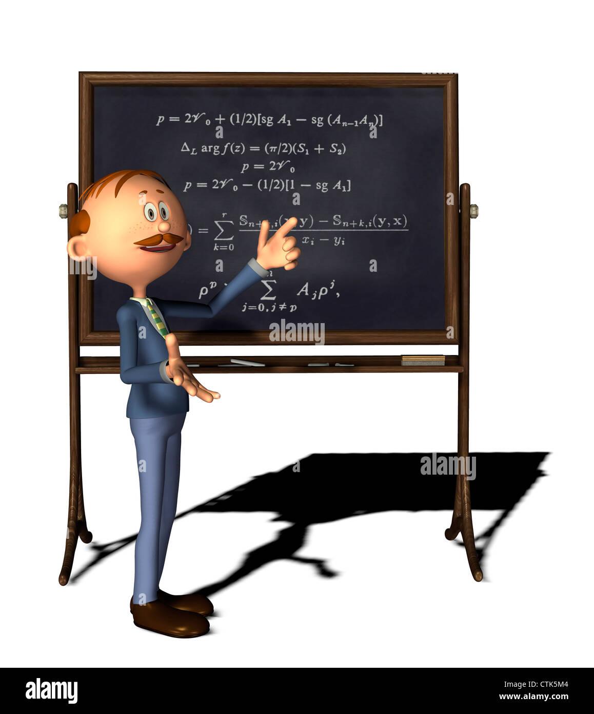 Cartoon-Figur-Mathematik-Lehrer mit Board und Formel Stockfoto