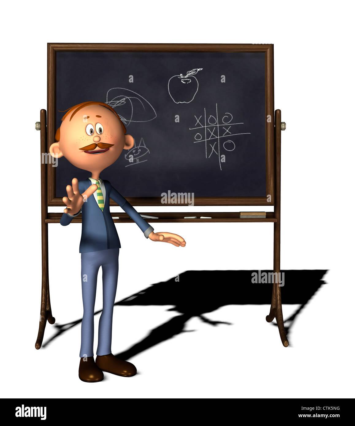 Cartoon-Figur-Lehrer mit boardStockfoto