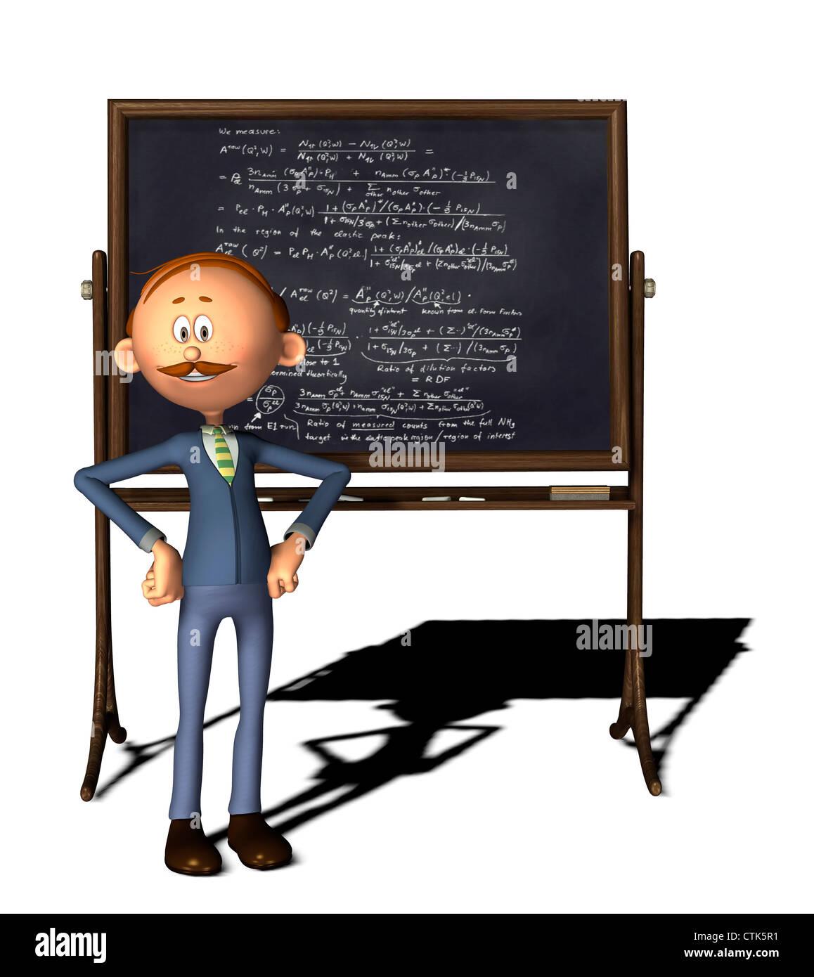 Cartoon Figur Lehrer mit Board und Physik Formel auf Tafel Stockfoto