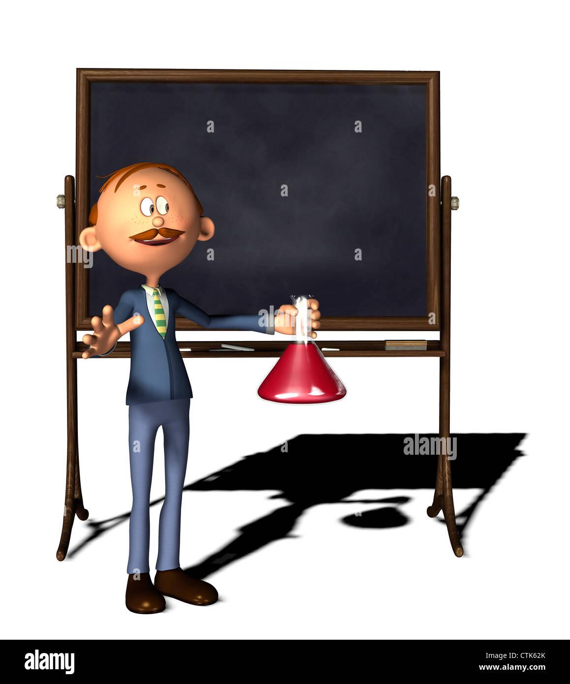 Cartoon-Figur-Lehrer mit Board und Erlenmeyerkolben Stockfoto