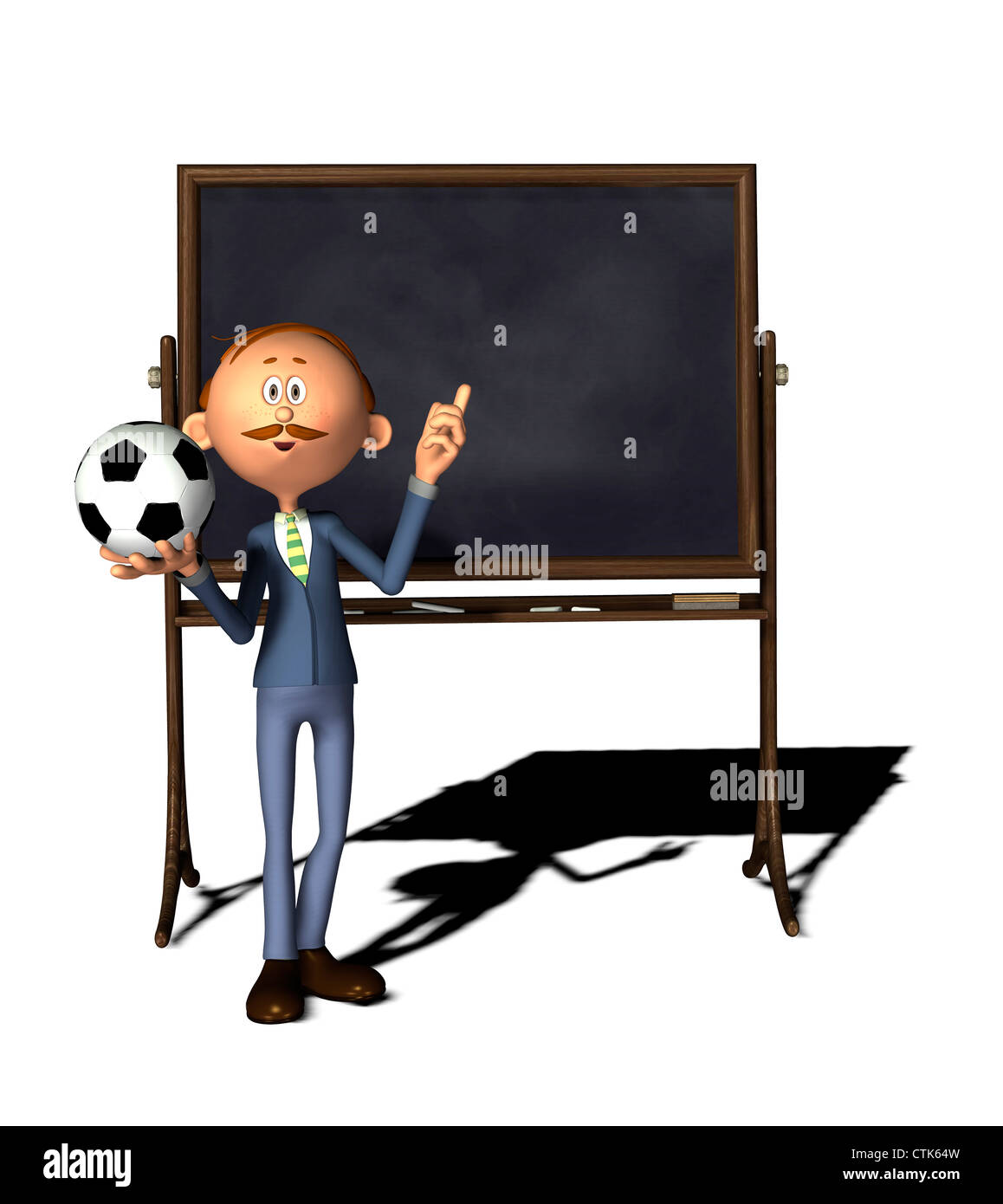 Cartoon Figur Lehrer mit Board und Soccer ballStockfoto