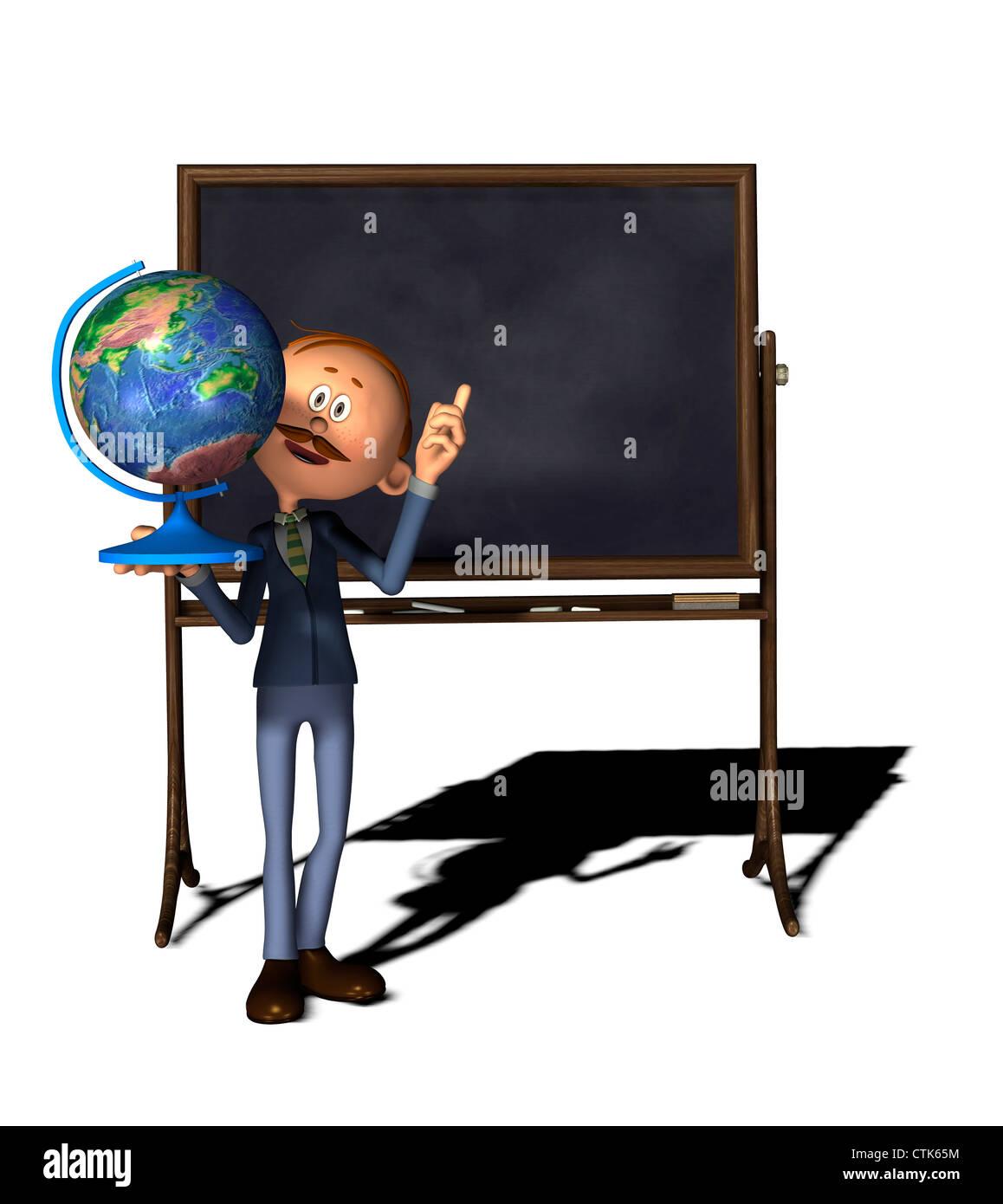Cartoon Figur Lehrer mit Board und Weltkugel Stockfoto