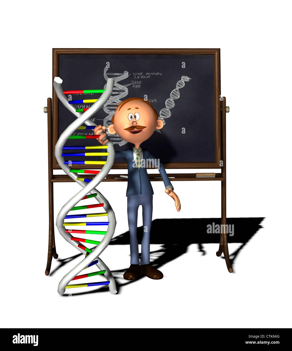 Cartoon-Figur-Lehrer mit Board und DNA-Modell Stockfoto