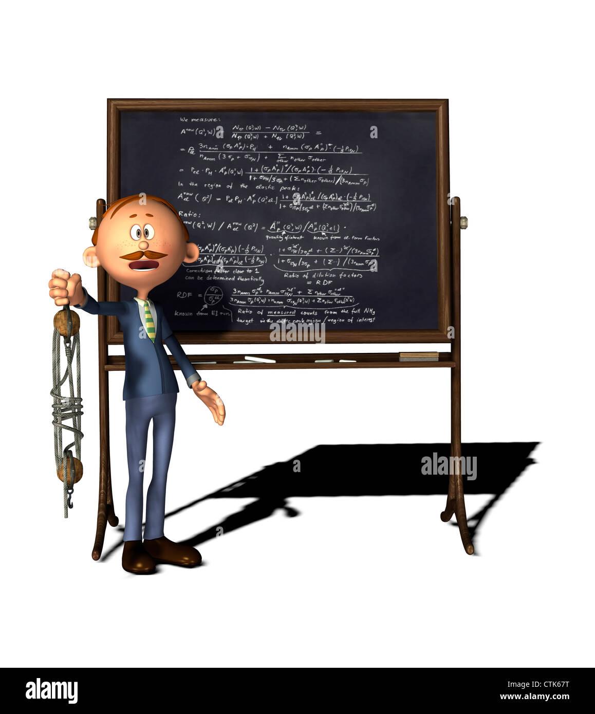 Cartoon Figur Lehrer mit Flaschenzug-board Stockfoto