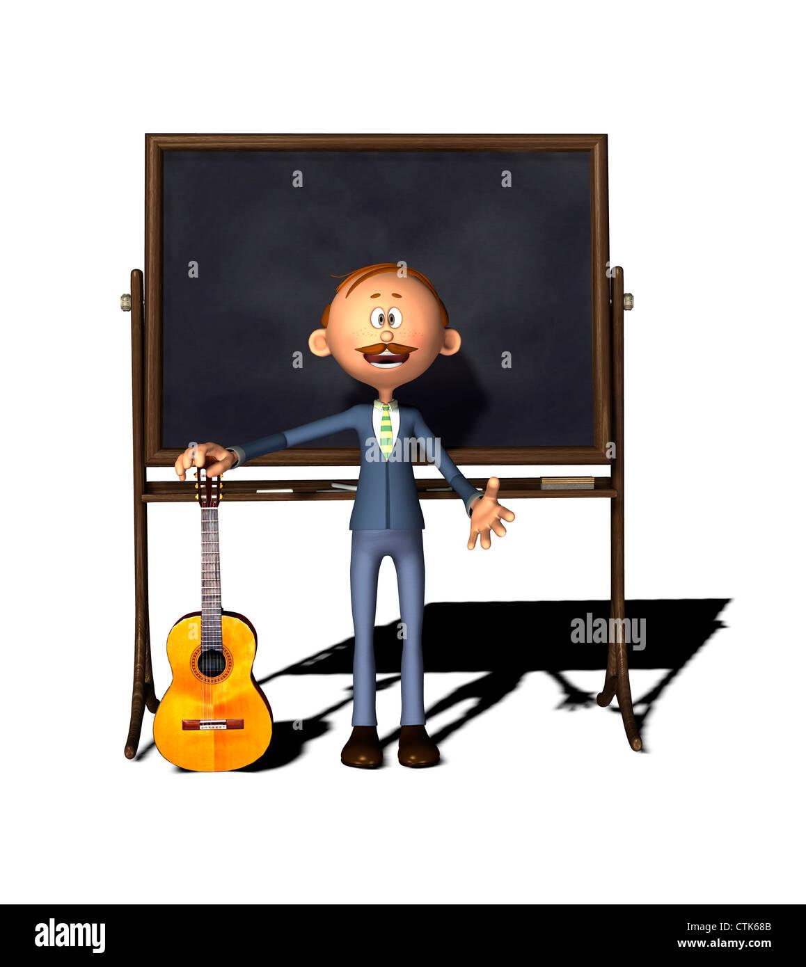 Cartoon-Figur-Lehrer mit Board und Gitarre Stockfoto