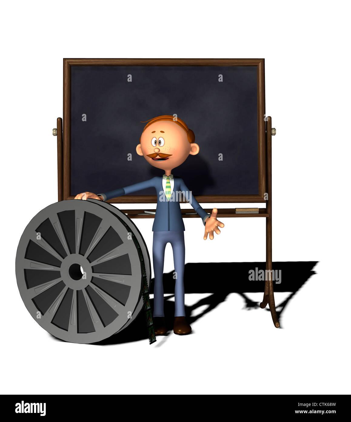 Cartoon Figur Lehrer mit Board und Filmrolle Stockfoto