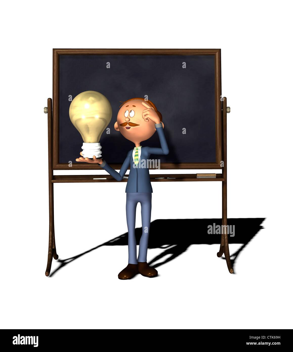 Cartoon Figur Lehrer mit Board und Birne Stockfoto