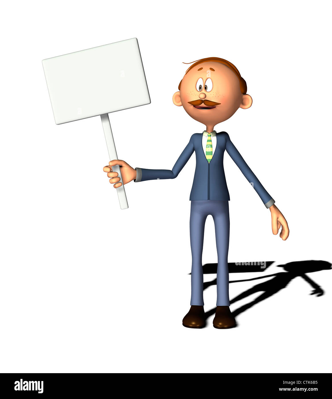 Cartoon Figur Mann mit Schild Stockfoto