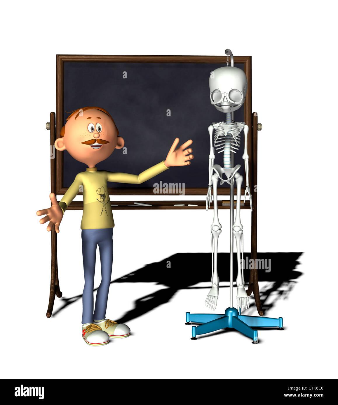 Cartoon-Figur-Lehrer mit Board und Skelett Stockfoto