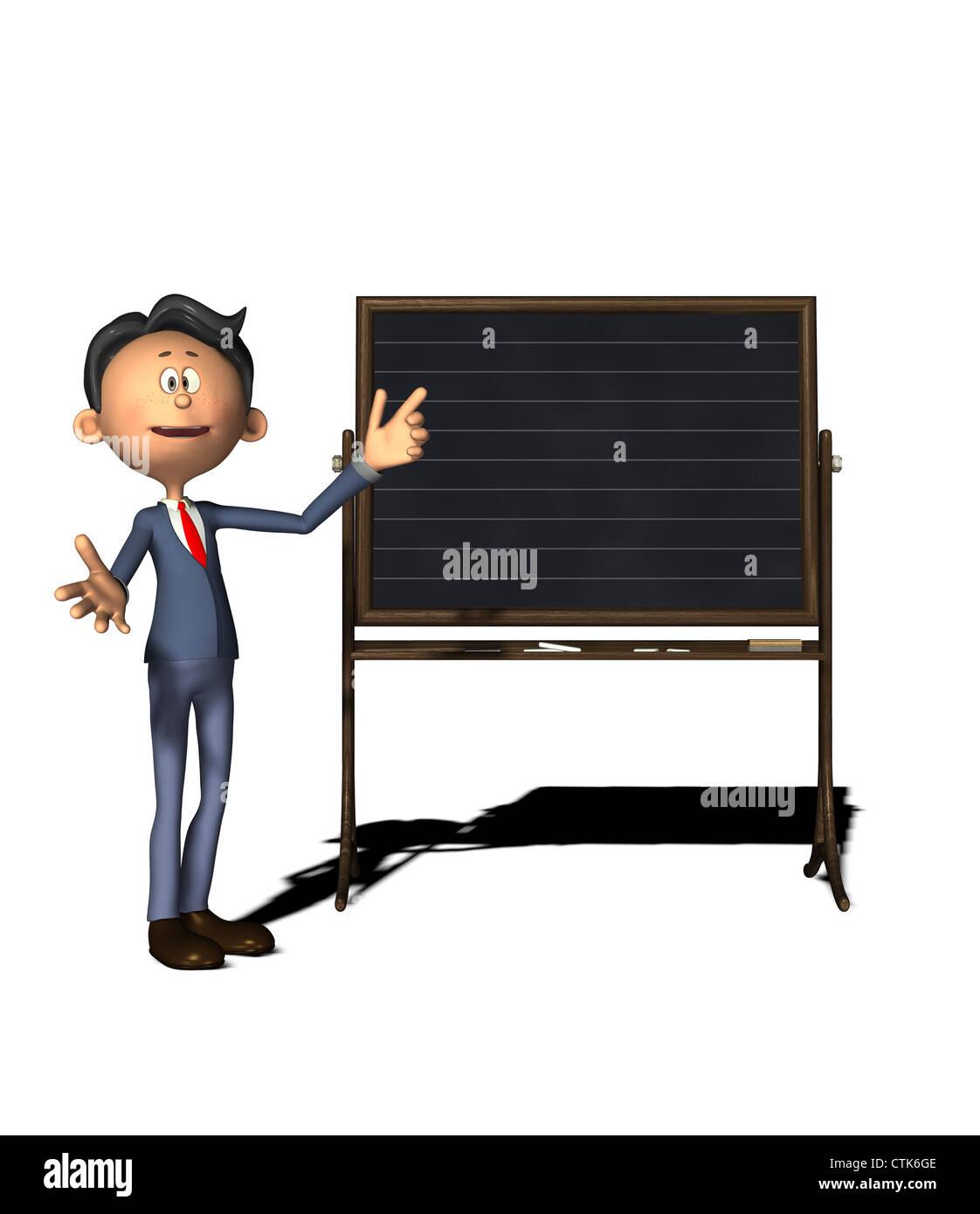 Cartoon-Figur-Lehrer mit board Stockfoto