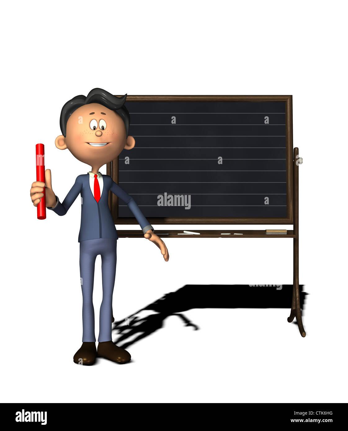 Cartoon Figur Physiklehrer zeigt die rechten Daumen-Regel Stockfoto