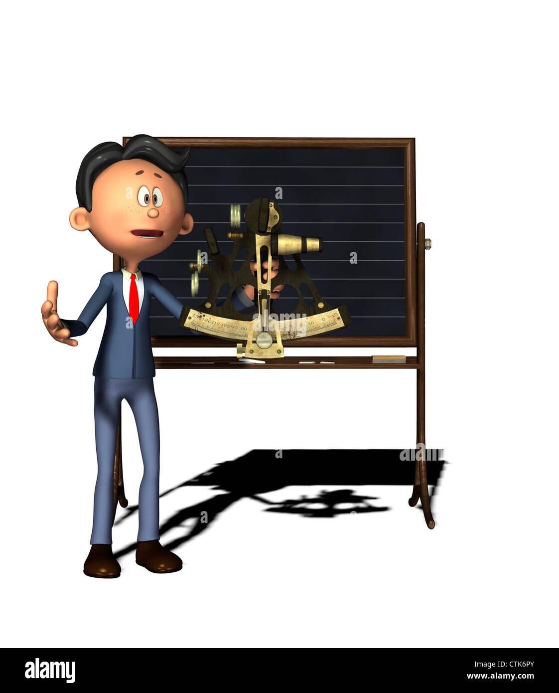 Cartoon-Figur Physiklehrer mit sextant Stockfoto