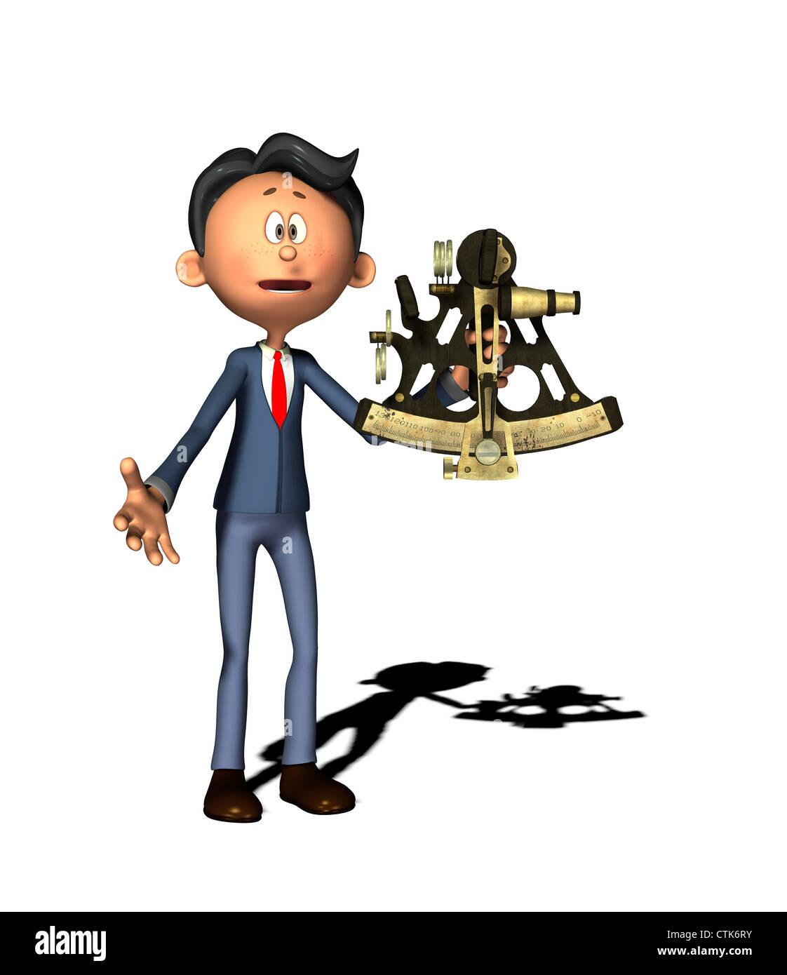 Cartoon-Figur Physiklehrer mit sextantStockfoto