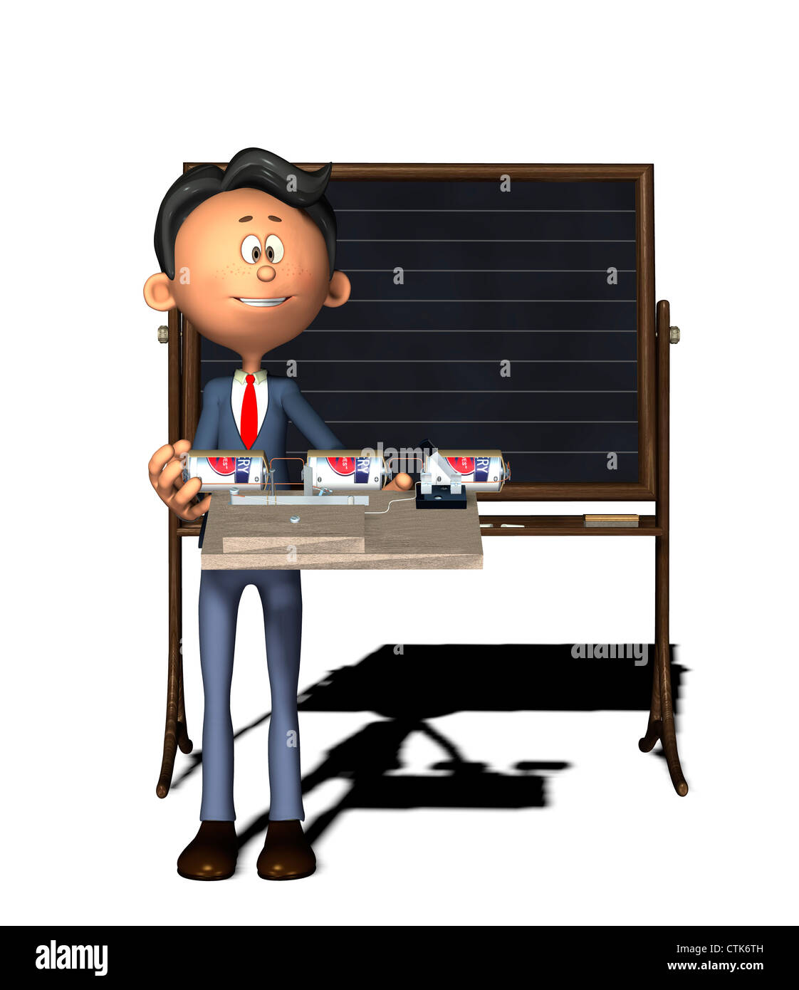 Cartoon-Figur Physiklehrer mit Elektronik-Experiment (Summer) Stockbild