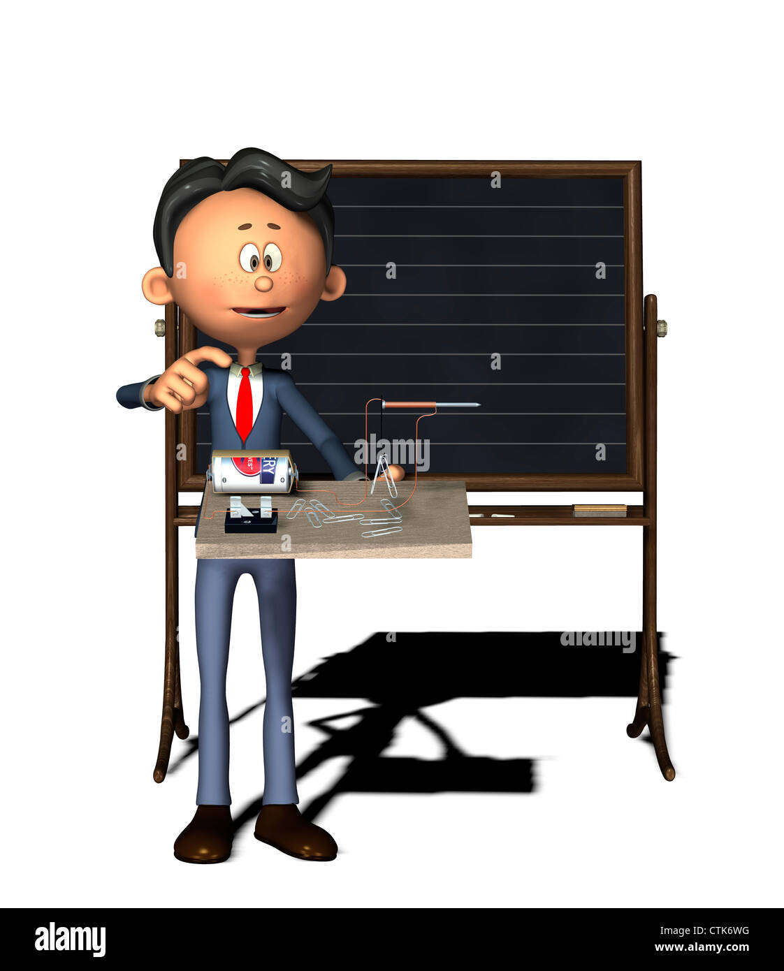 Cartoon-Figur Physiklehrer mit Elektronik-Experiment (Elektromagnet) Stockbild
