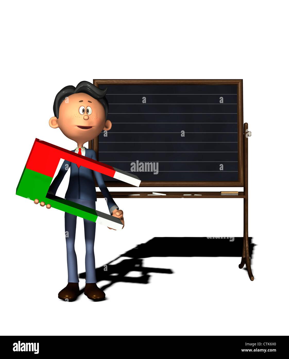 Cartoon-Figur Physiklehrer mit Hufeisen-magnetStockfoto