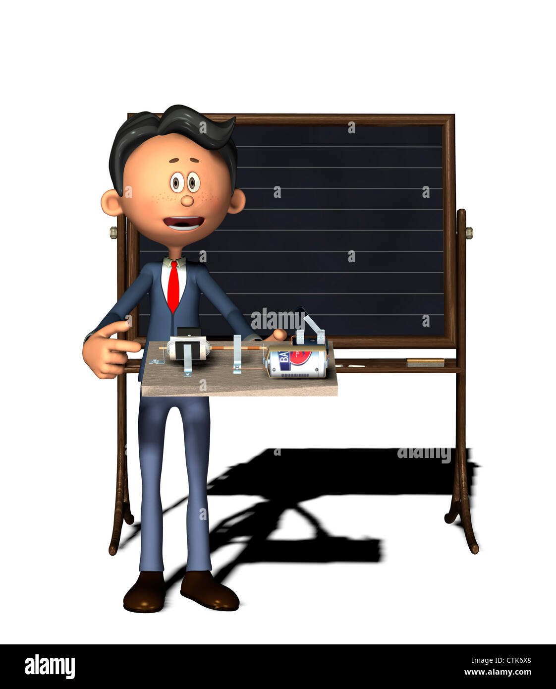 Cartoon-Figur Physiklehrer mit Elektronik-Experiment (Elektromotor) Stockbild