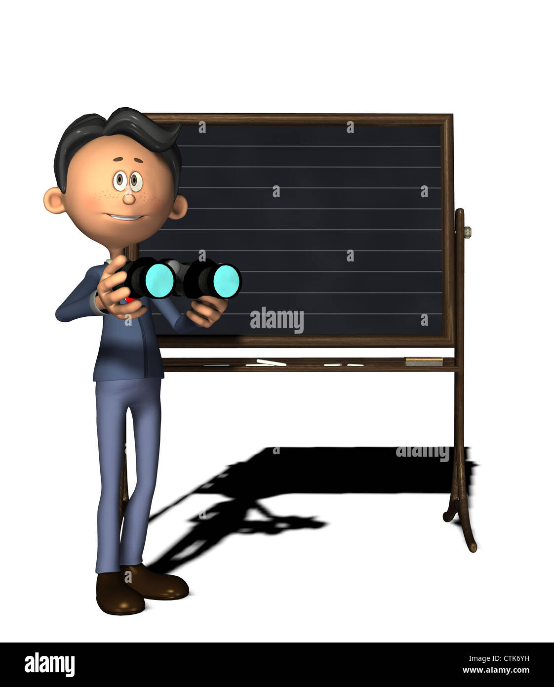 Cartoon-Figur Physiklehrer mit Fernglas Stockfoto