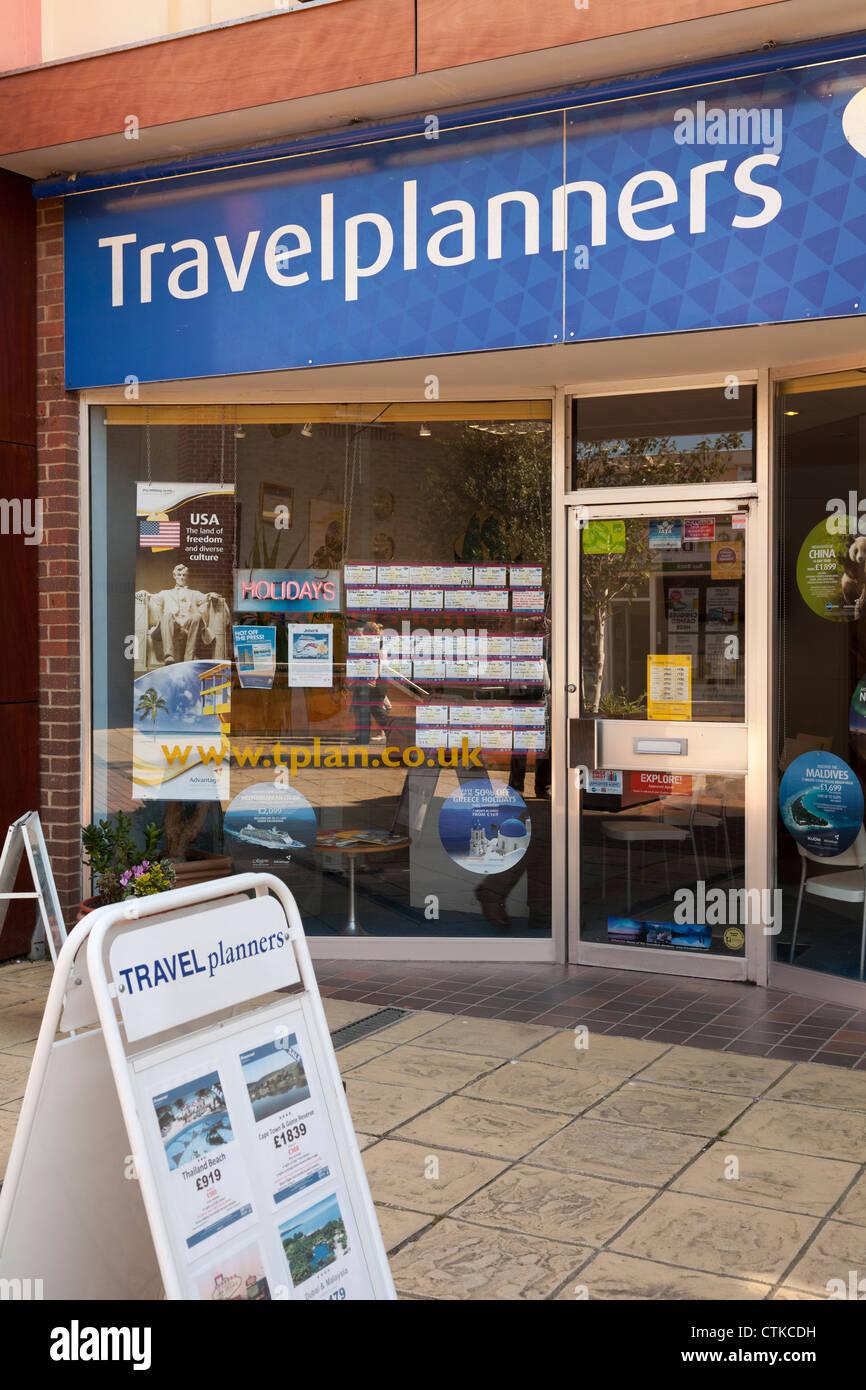 Travelplanners Reisebüro-Ladengeschäft Stockbild