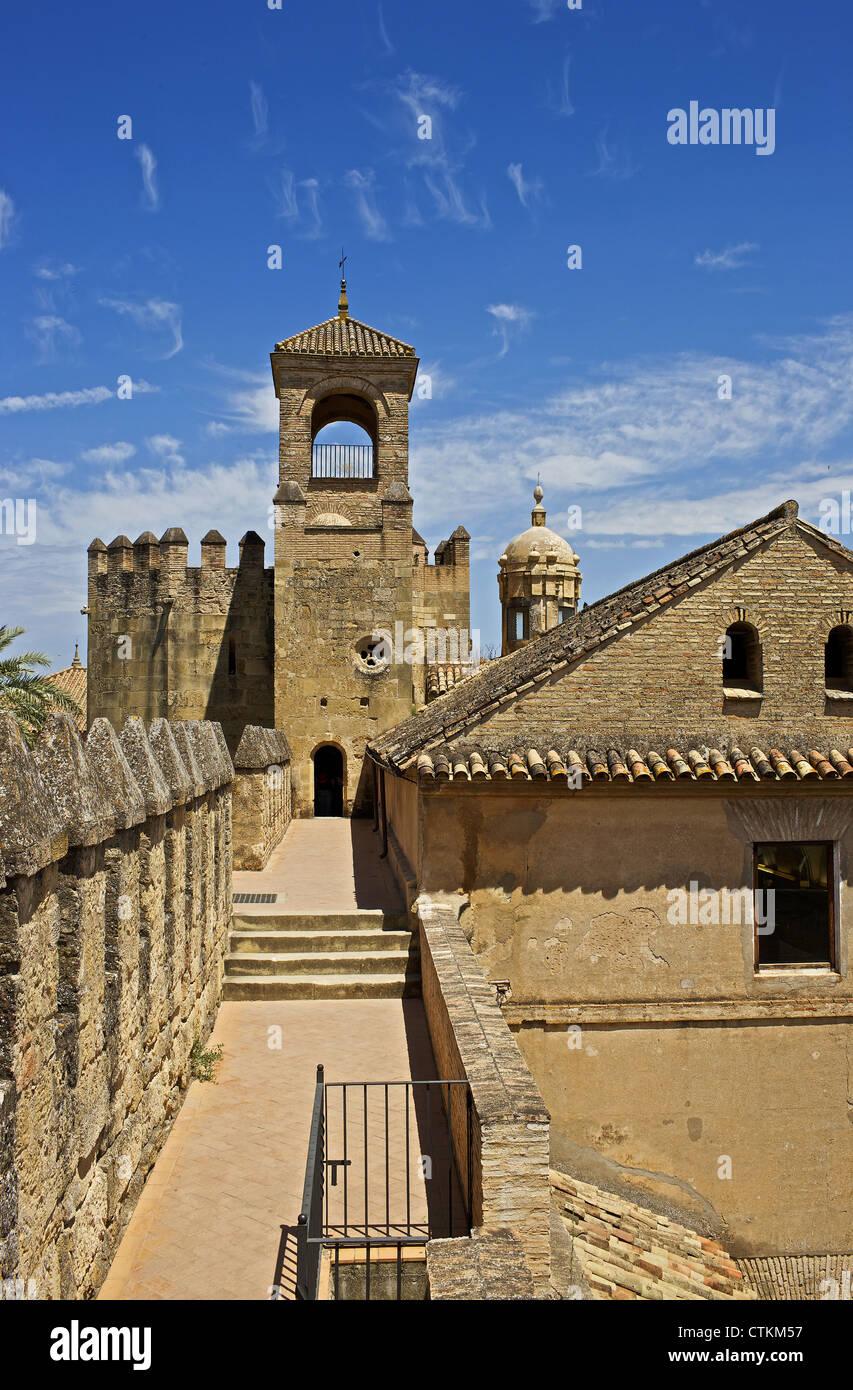 Spanien. Andalusien. Cordoba. Die christlichen Könige Alcazar. 14. Jahrhundert. Tribut-Turm aus dem Wall. Stockbild