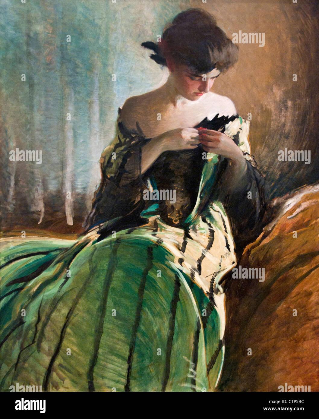 Studieren Sie in schwarz und grün 1906 John White Alexander amerikanische Vereinigte Staaten von Amerika Stockbild