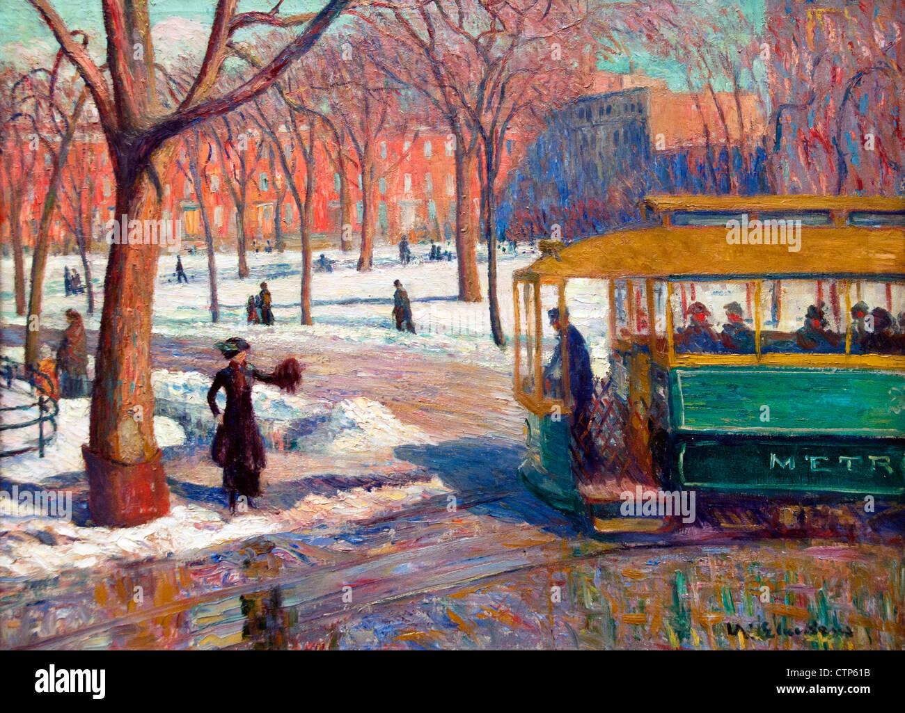 Das grüne Auto (Straßenbahn New York) 1910 William Glackens Vereinigte Staaten von Amerika Stockbild