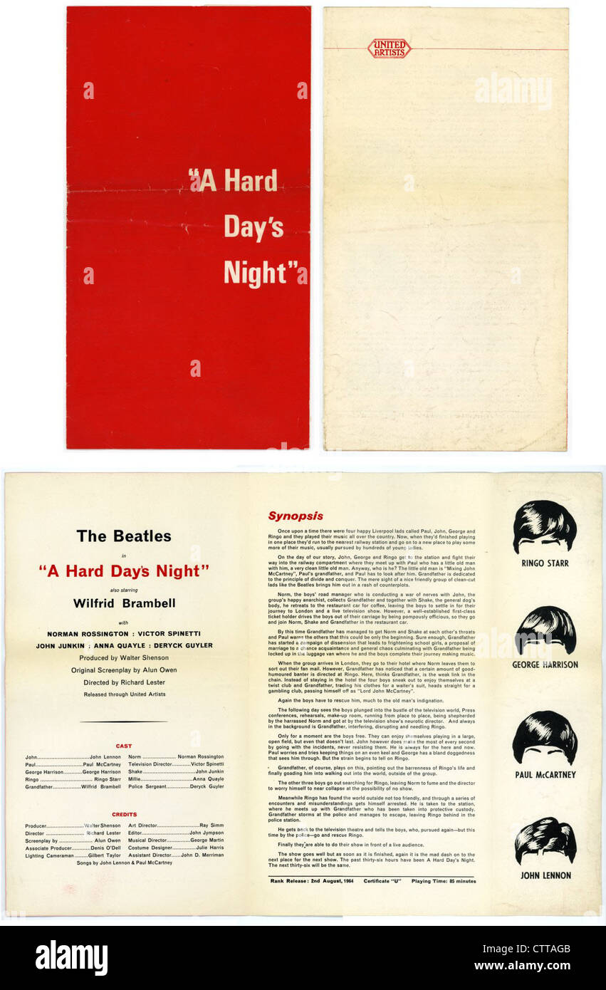 "000926 - die Beatles ""A Hard Day Night"" Film Synopsis Stockbild"