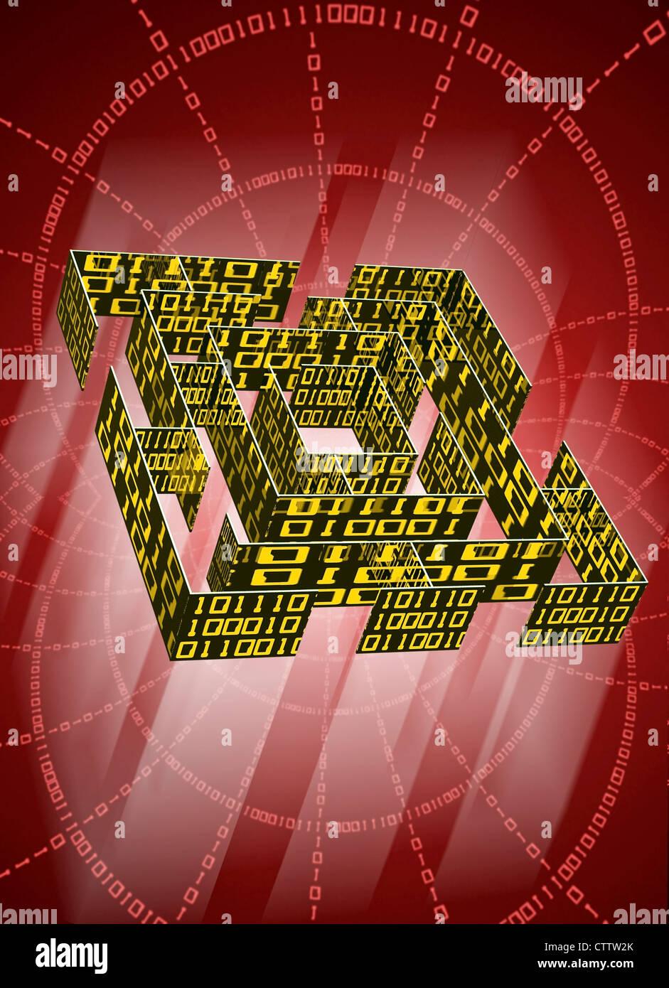 Labyrinth Mit Datenkolonnen aus Binärcode Stockbild