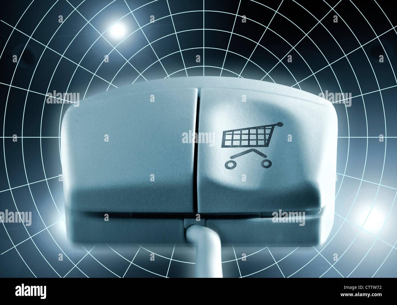 Computermaus Mit Einkaufswagen Auf der Linken Maustaste Stockbild
