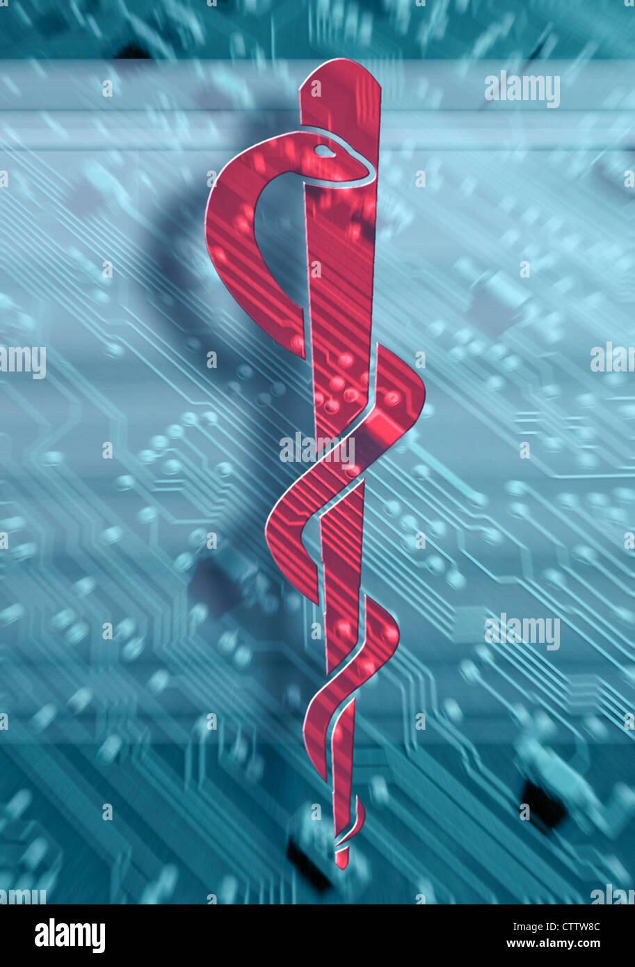 Roter Aeskulap Stab Vor Leiterbahnen Stockbild