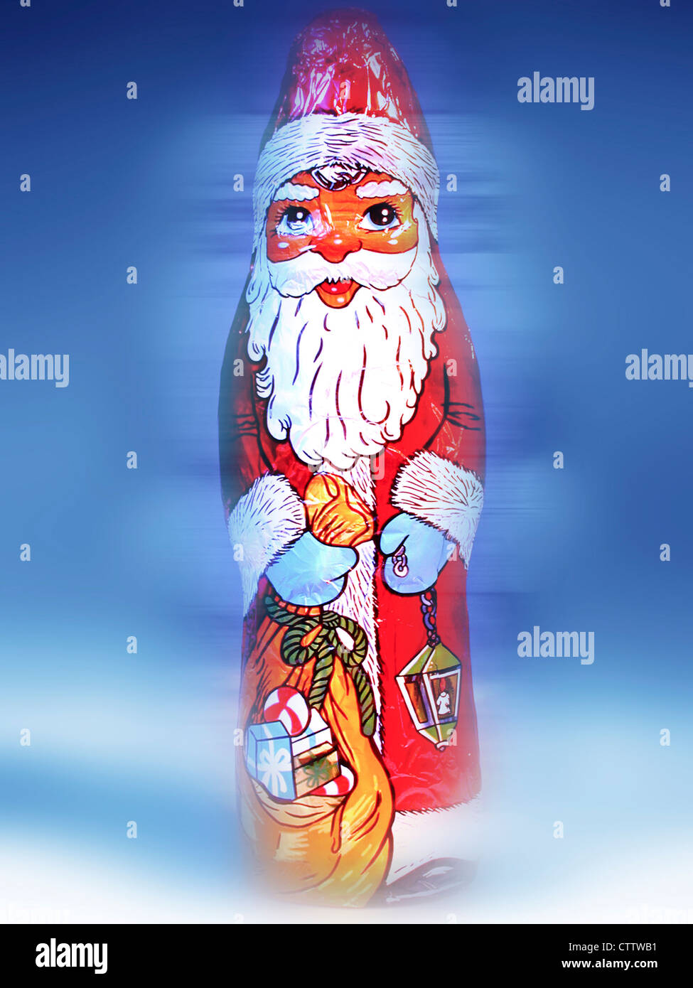 Choclate Santa - Schokoladen Nikolaus in Gold Stockbild