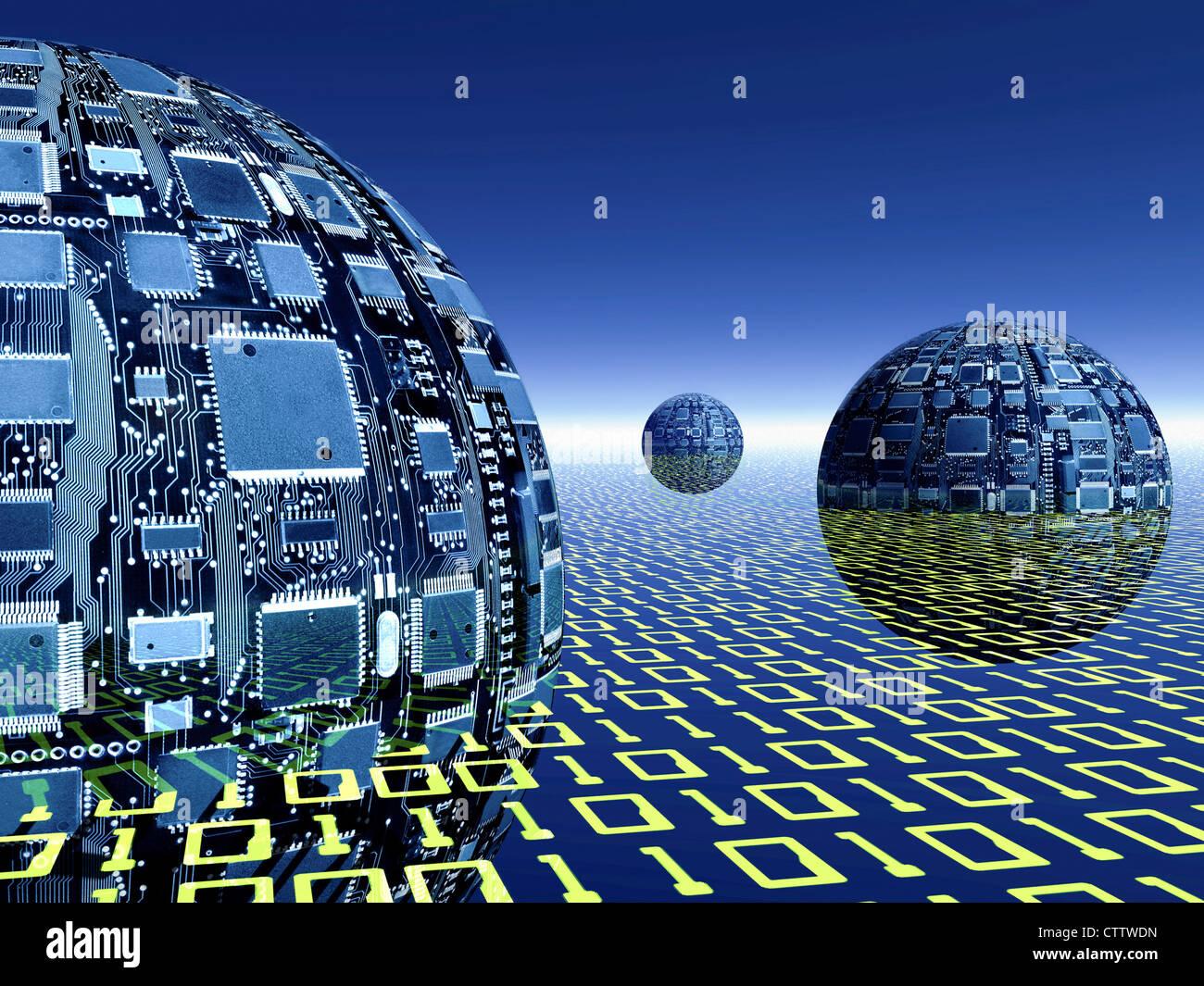Humoristische aus Computerchips in Einer Ebene aus Binären objekthaften Stockbild