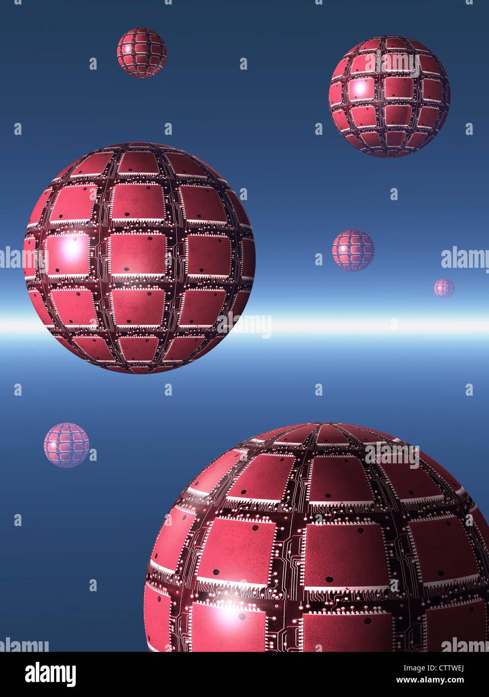 Kugeln mit Computer-Chips auf ihrer Oberfläche schweben in einem blauen Raum - Schwebende Rote Kugeln aus Computerchips Stockbild