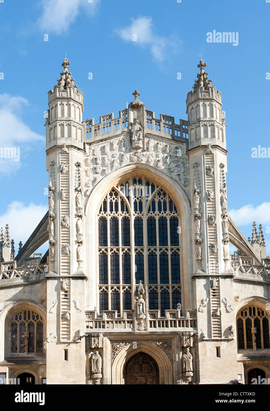 Bath Abbey in der Stadt Bath in Somerset, Großbritannien Stockbild