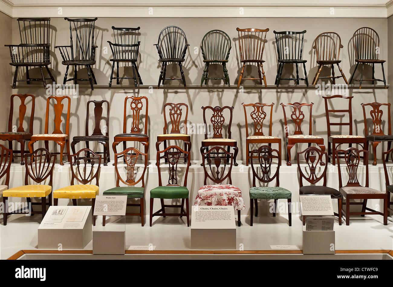 Stuhl-Ausstellung, Winterthur Museum für dekorative Kunst und Gärten, Delaware, USA Stockbild