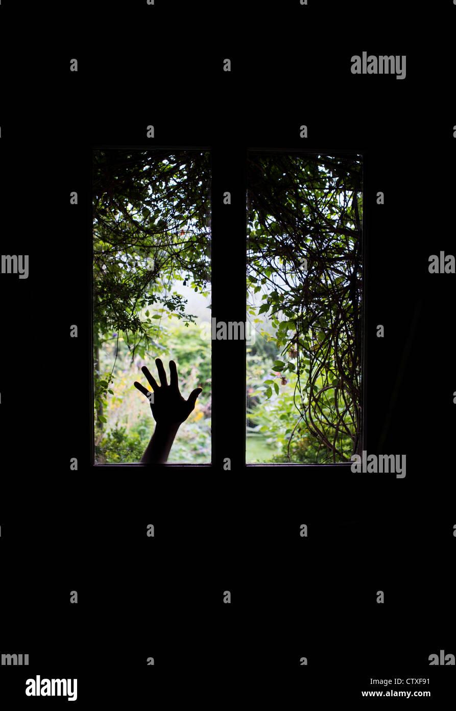 Silhouette Hand gegen Glasfenster in einer Haustür vor einem verwilderten Garten Blick. UK Stockbild