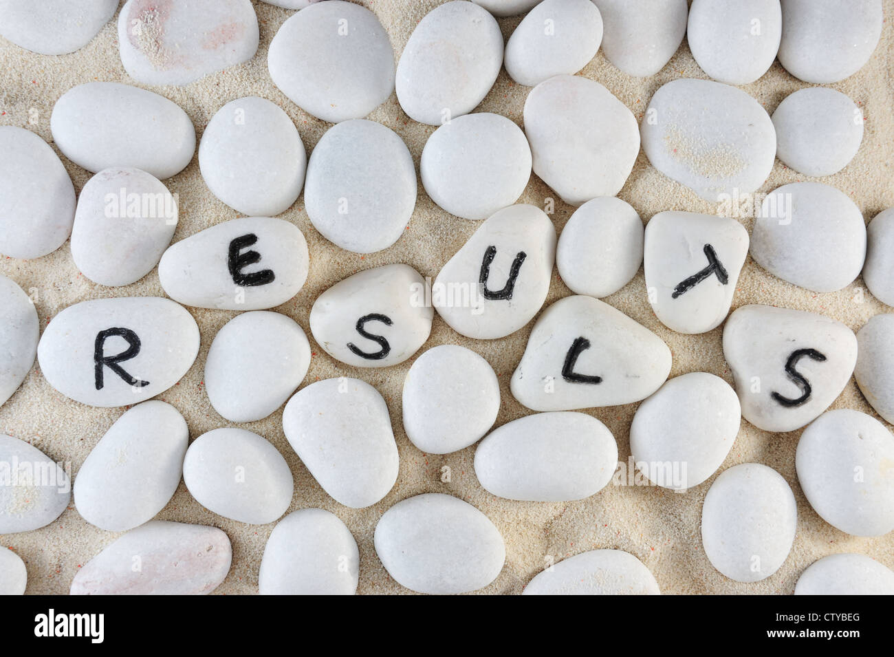 Ergebnisse Wort auf Gruppe von Steinen auf dem sand Stockbild
