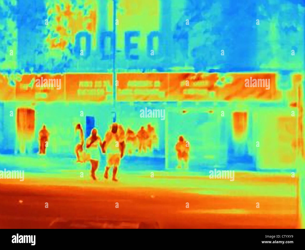Wärmebild eines Kino Stockbild