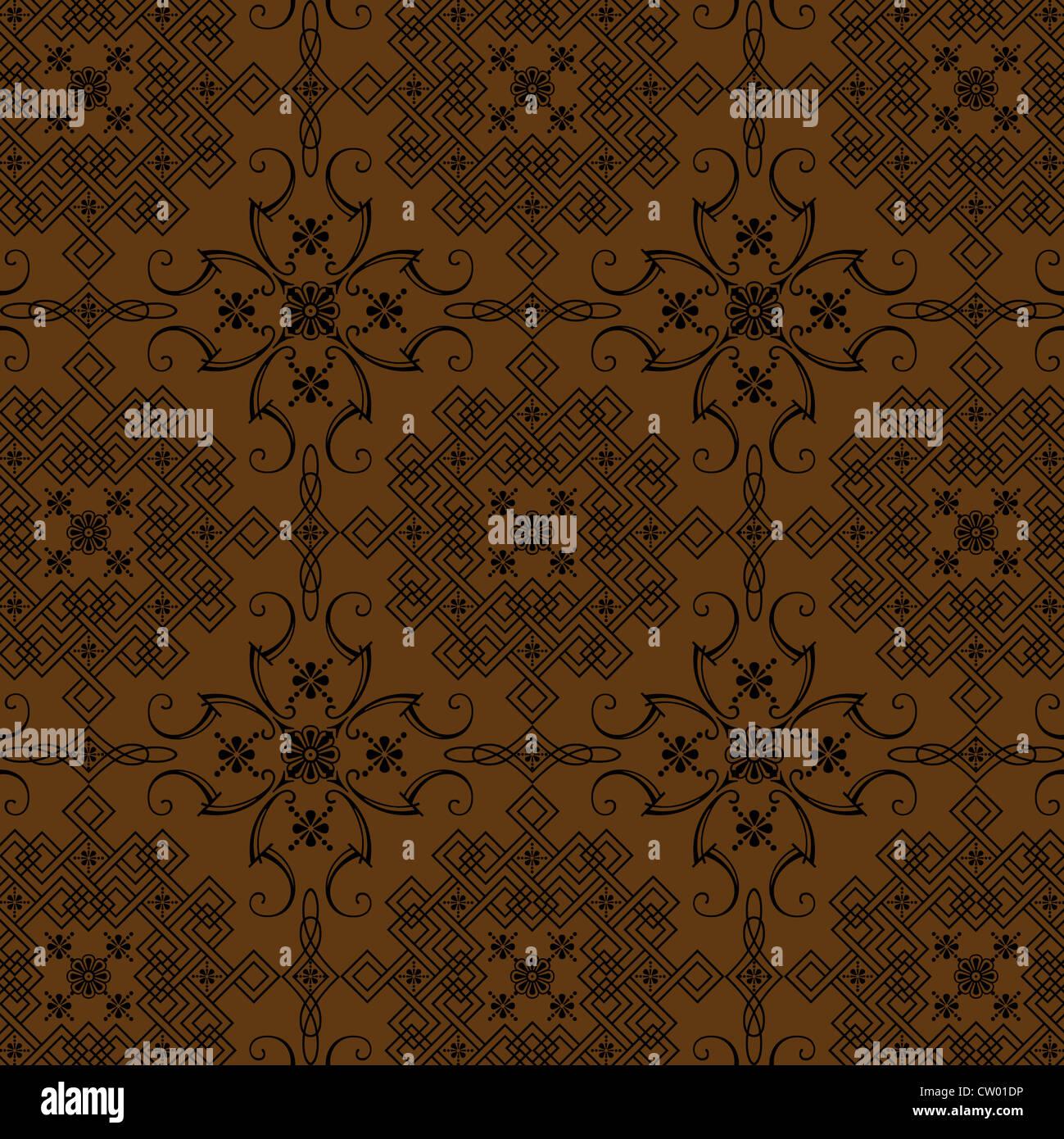 Die Grafik Design Braun Florel Vintage Stil Tapete