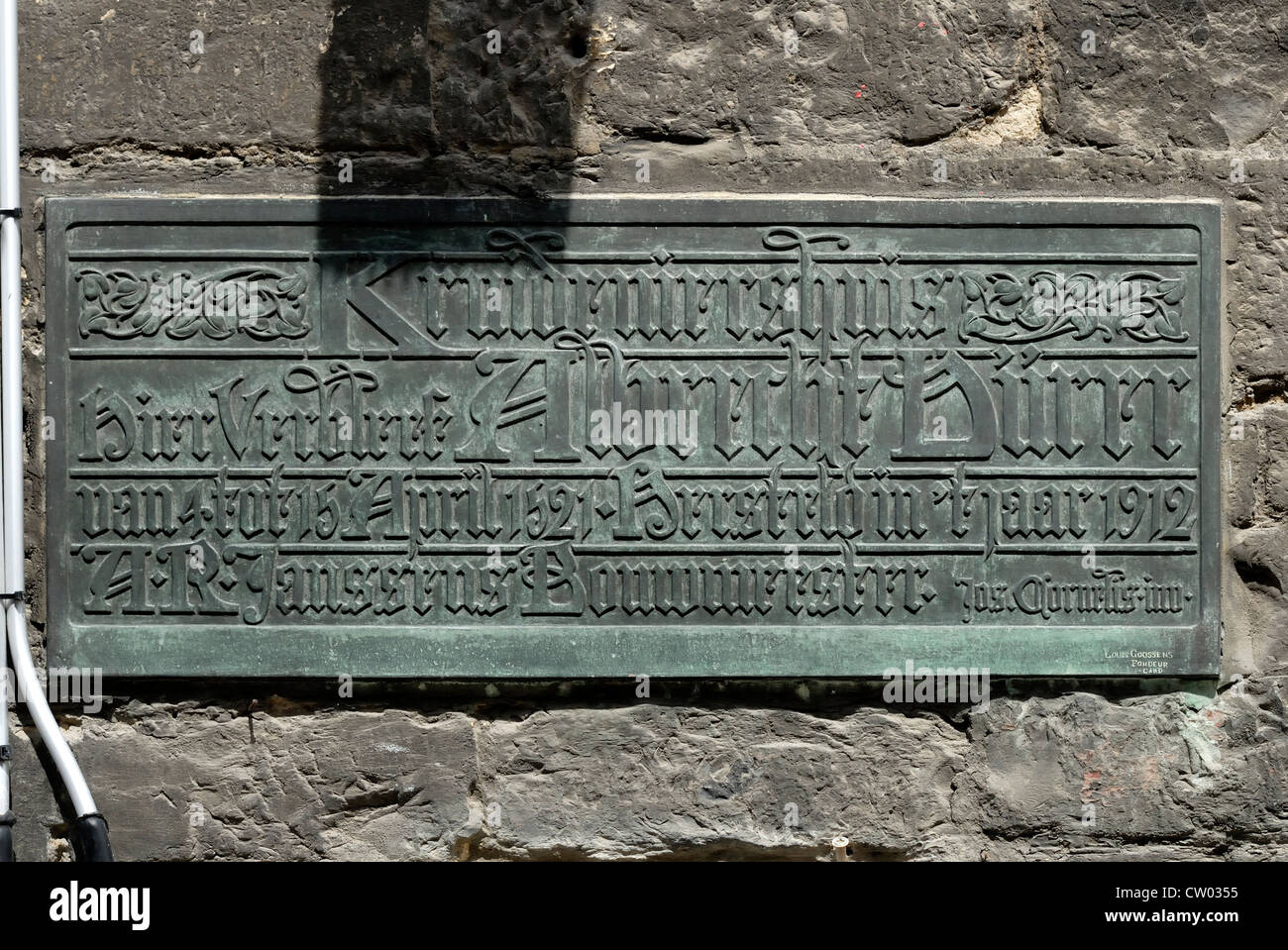 Ghent / Gent, Belgien. Gedenktafel am keine 4 Klijne Turkije zur Erinnerung an den Aufenthalt hier Albrecht Dürer Stockbild