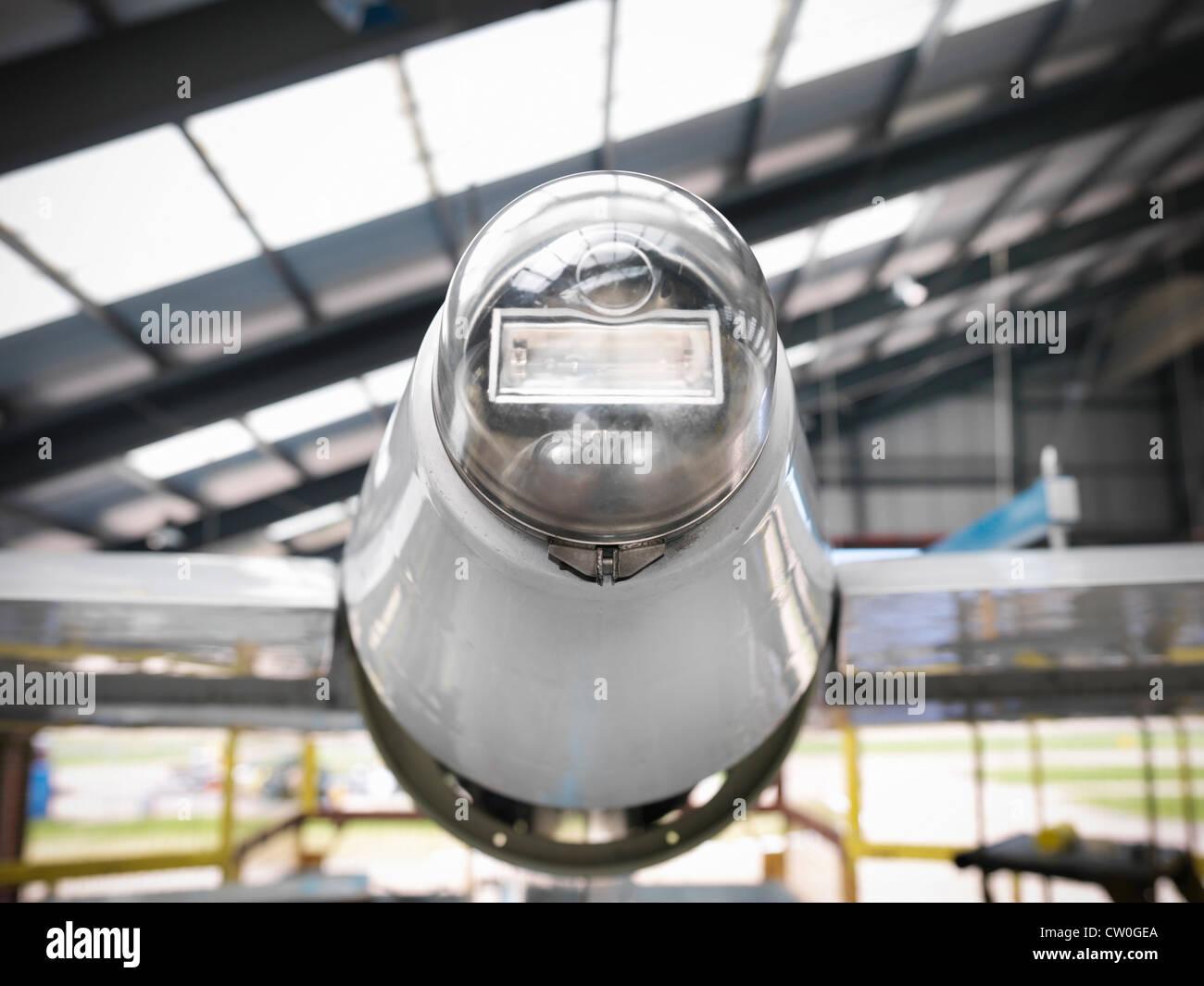 Nahaufnahme der Rückleuchte des Flugzeugs Stockbild