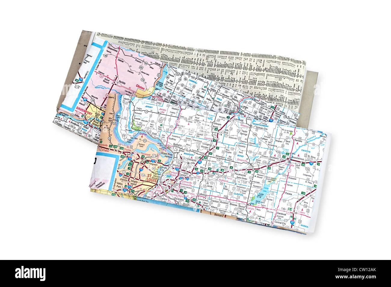 Straßenkarten für den Einsatz während Urlaub, Business und allgemeine Reisebegleitung. Stockbild