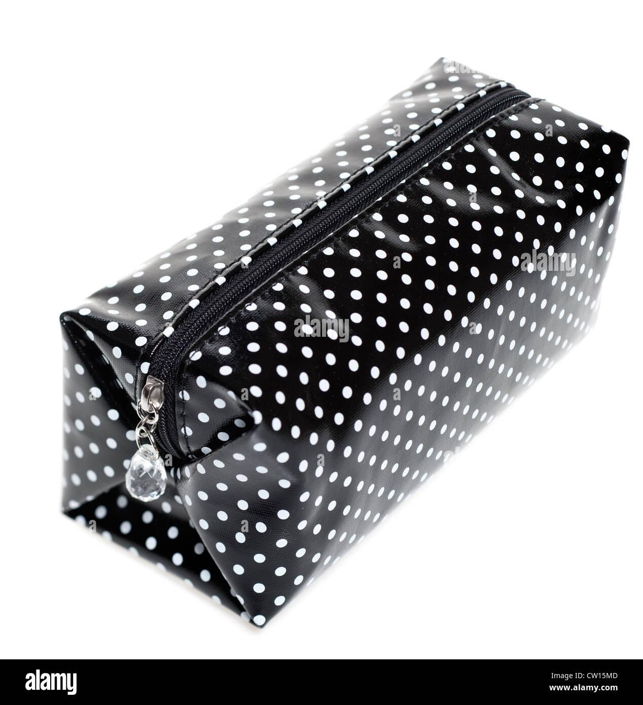 schwarz / weiß getupft Kunststoff Kosmetik-Etui Stockbild