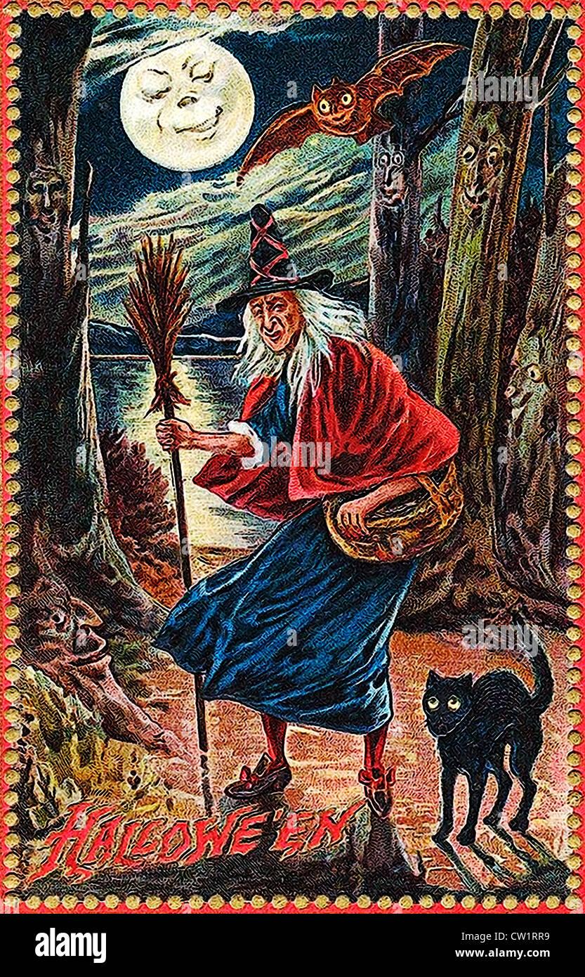 Alte Frau mit Hut und Besen Stockbild