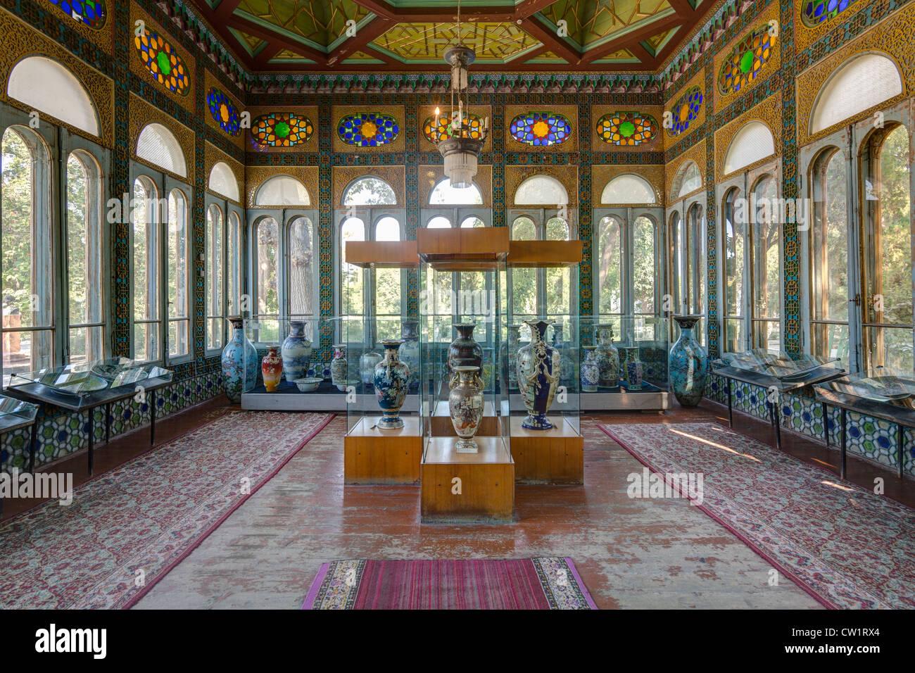 Innenraum des Pavillons, Sitarah-i Mahi Amirs Sommerpalast, Buchara Usbekistan Stockbild