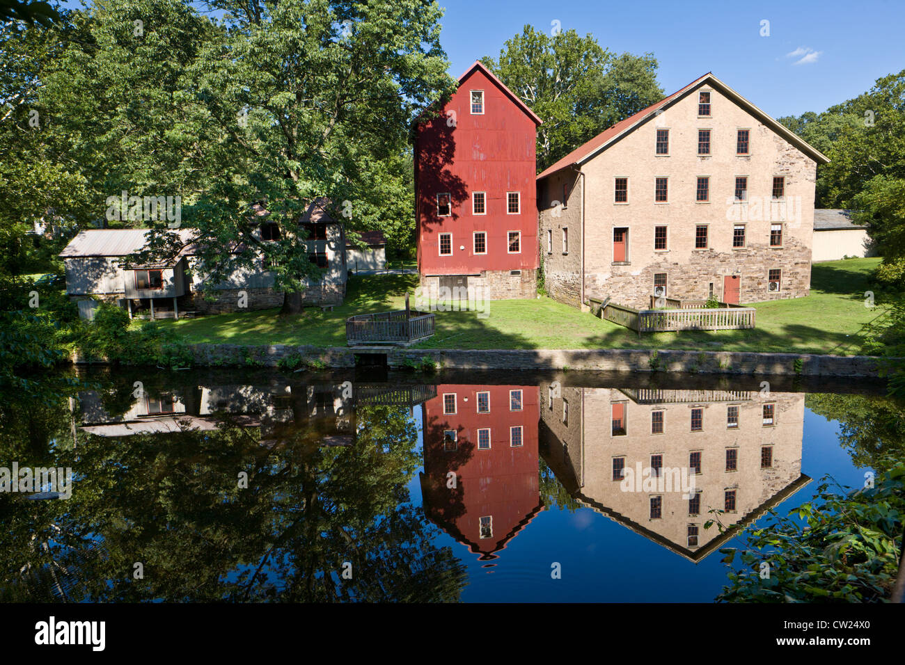 Prallsville Mühlen, Delaware und Raritan Canal State Park, New Jersey Stockbild
