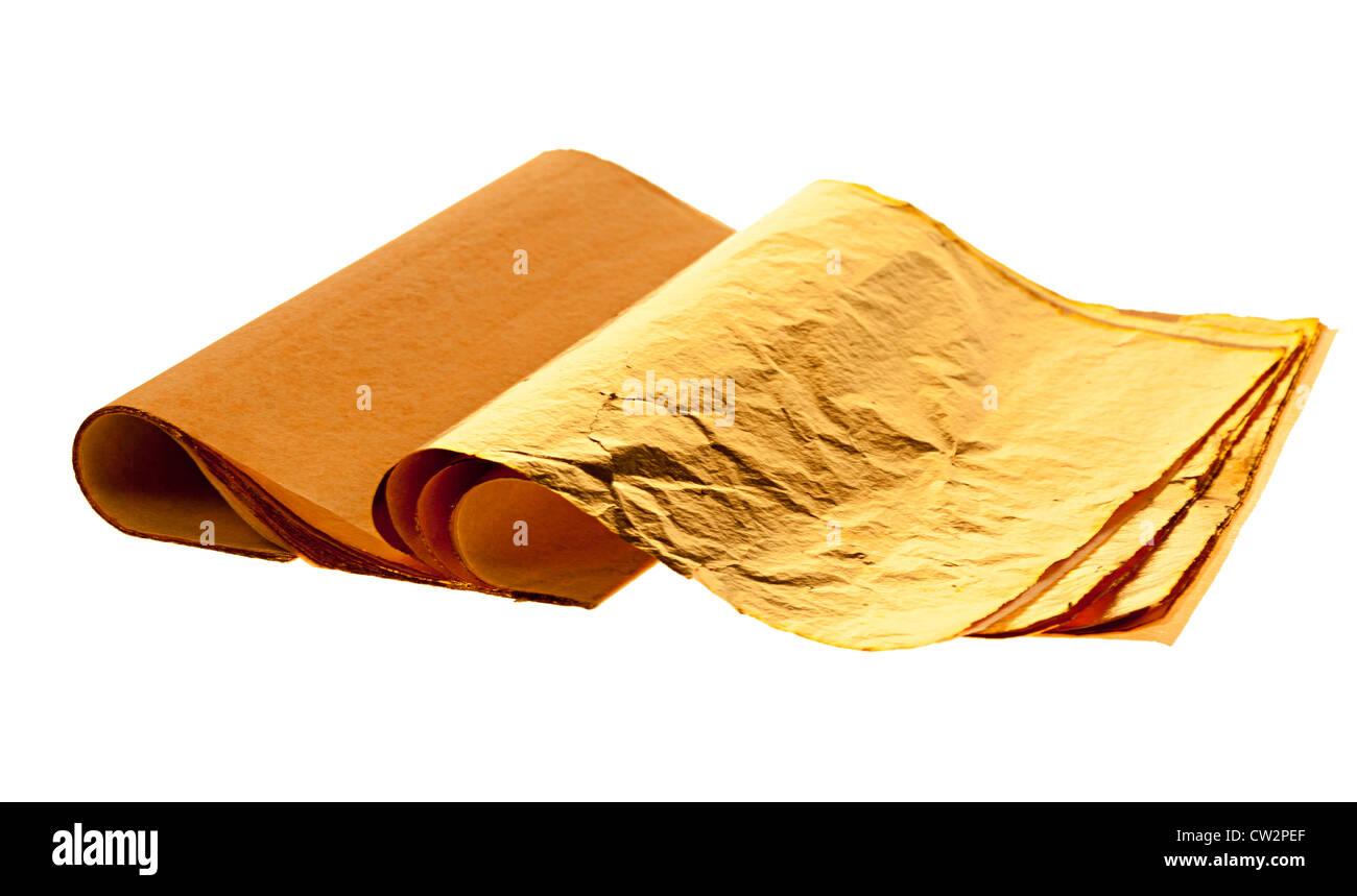 Buch von Blattgold verwendet von Buchbinder für Schriftzug auf Cover, UK Stockbild